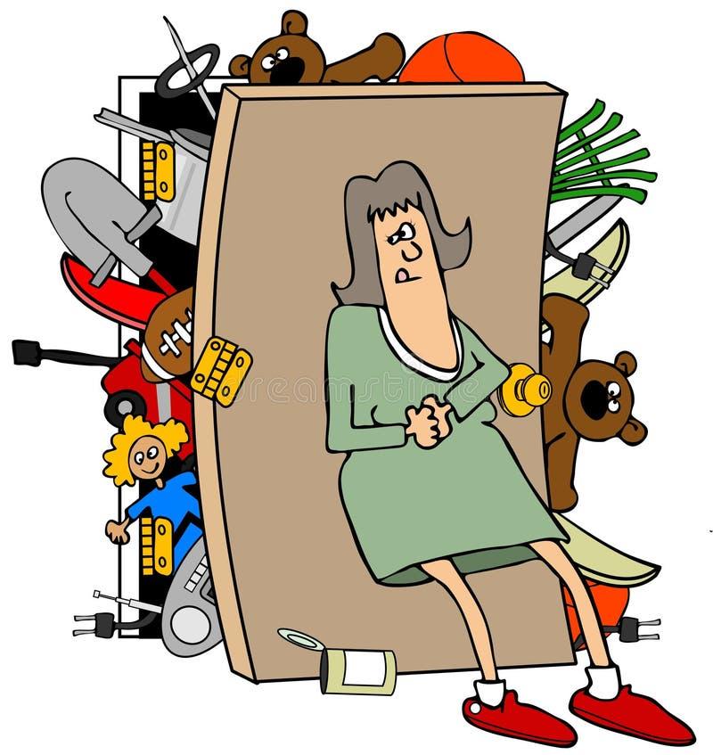 Frau mit einem vollen Wandschrank