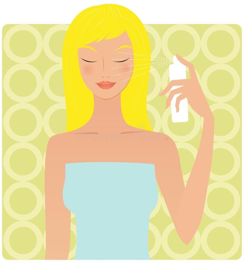 Frau mit einem Wassernebel lizenzfreie abbildung