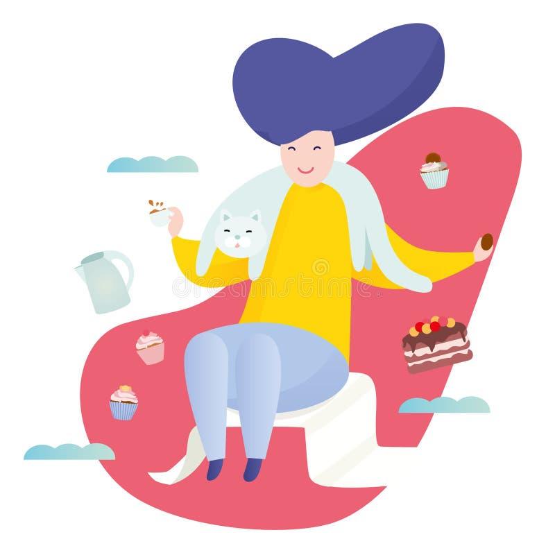 Frau mit einer Katze zu Hause Winterwochenendenkonzept Trinkender Tee der Frau mit Kuchen und kleinen Kuchen Bunter Vektor lizenzfreie abbildung