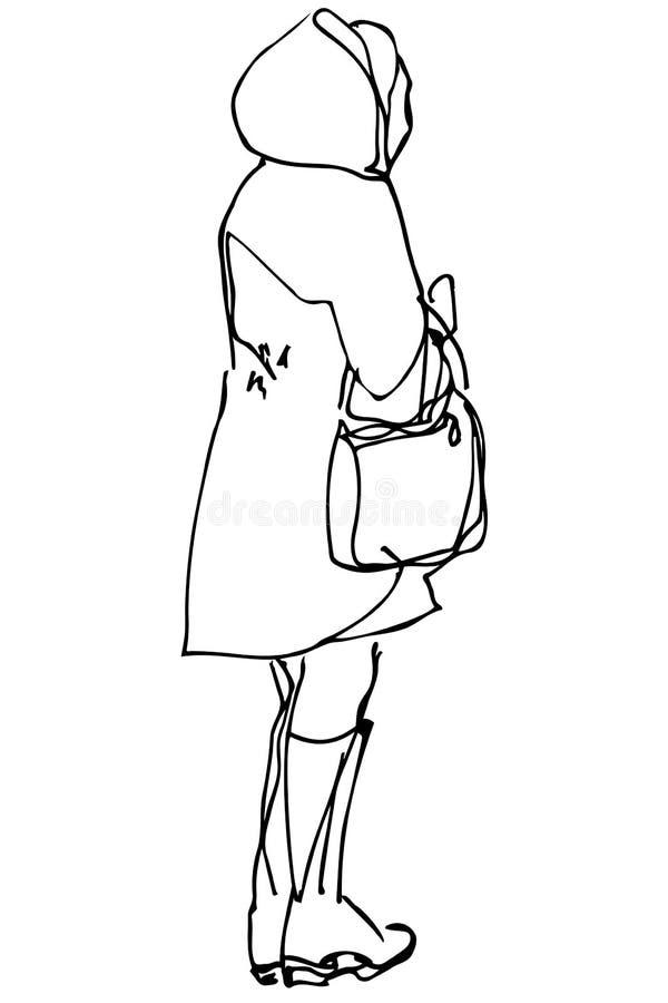 Frau mit einer Tasche, die mit seiner zurück zu uns steht stock abbildung