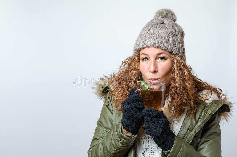 Frau mit einer Tasse Tee lizenzfreie stockfotos