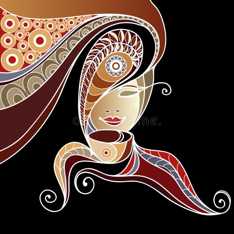 Frau mit einer Tasse Tee oder Kaffee 6 stock abbildung