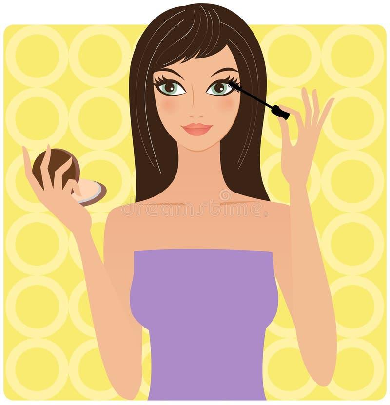 Frau mit einer Wimperntusche lizenzfreie abbildung