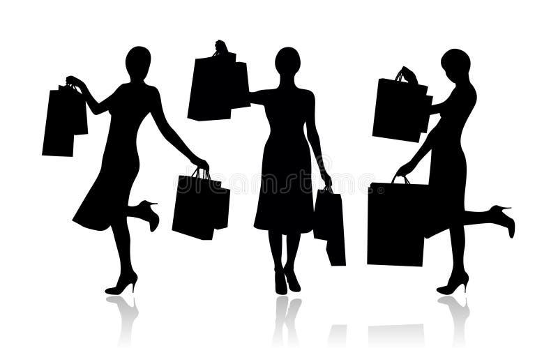Frau mit Einkaufenbeuteln lizenzfreie abbildung