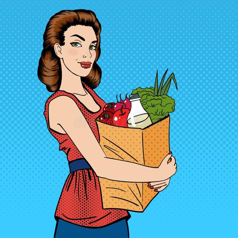 Frau mit Einkaufstasche Mädchen mit Lebensmittelgeschäft-gesundem Lebensmittel lizenzfreie abbildung