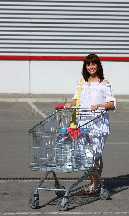 Frau mit Einkaufswagen lizenzfreie stockbilder