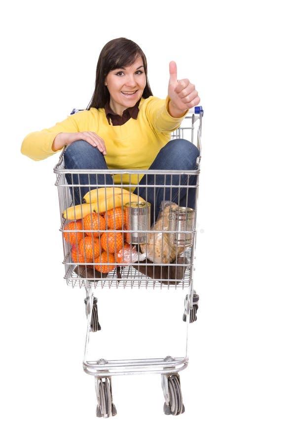 Download Frau mit Einkaufswagen stockfoto. Bild von recht, karosserie - 9093038