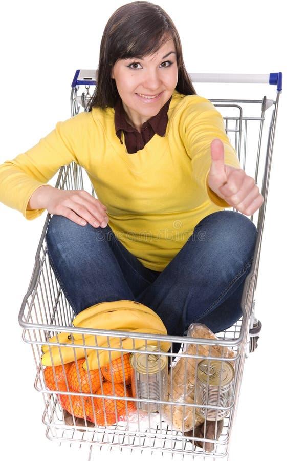 Download Frau mit Einkaufswagen stockbild. Bild von erwachsener - 9093059