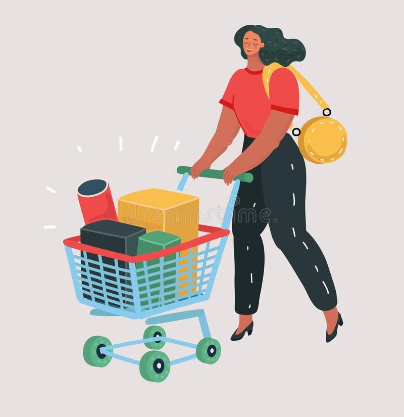 Frau mit Einkaufswagen voll von Kästen vektor abbildung