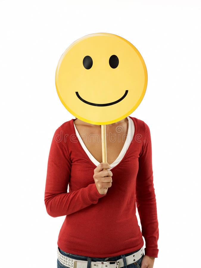 Frau mit Emoticon lizenzfreie stockfotos