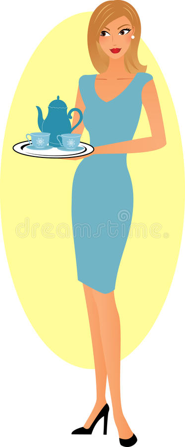 Frau mit Erfrischung stock abbildung