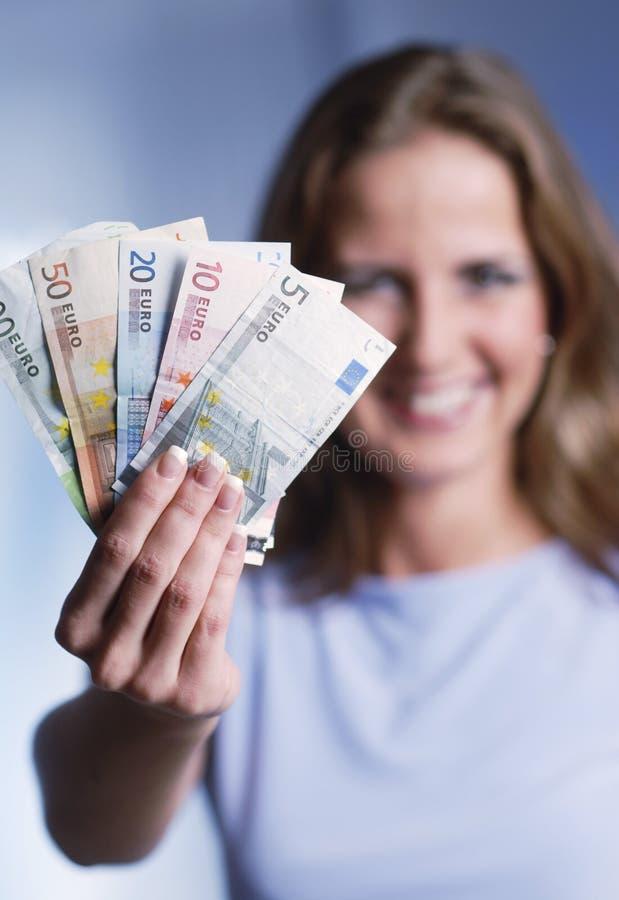 Frau mit Euro stockfotos