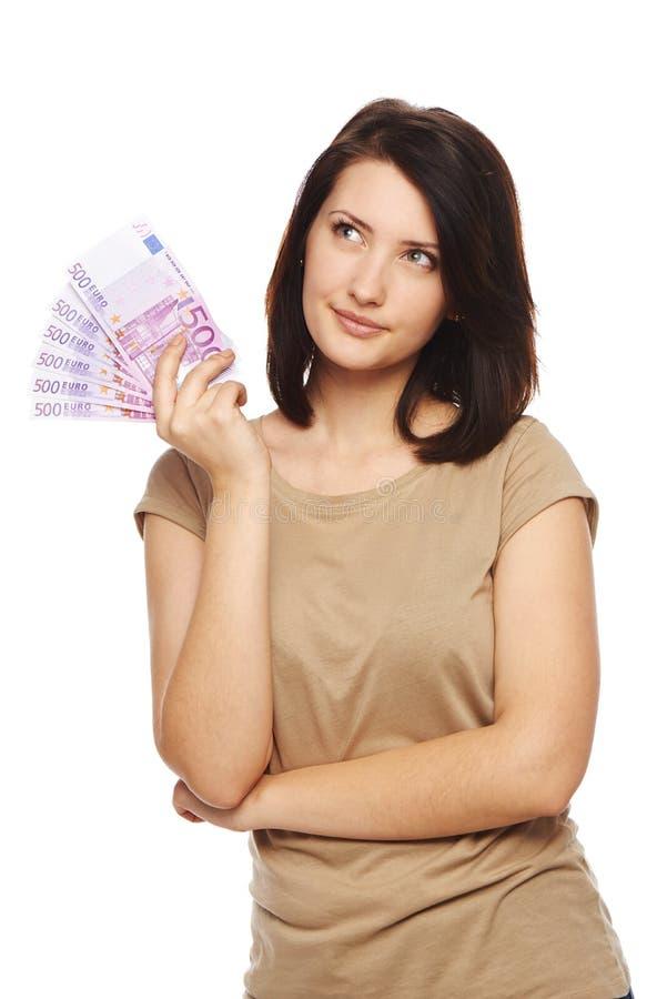 Frau mit Eurobargeld lizenzfreies stockbild