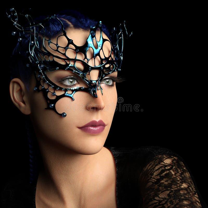 Frau mit Fantasiemaske lizenzfreie abbildung