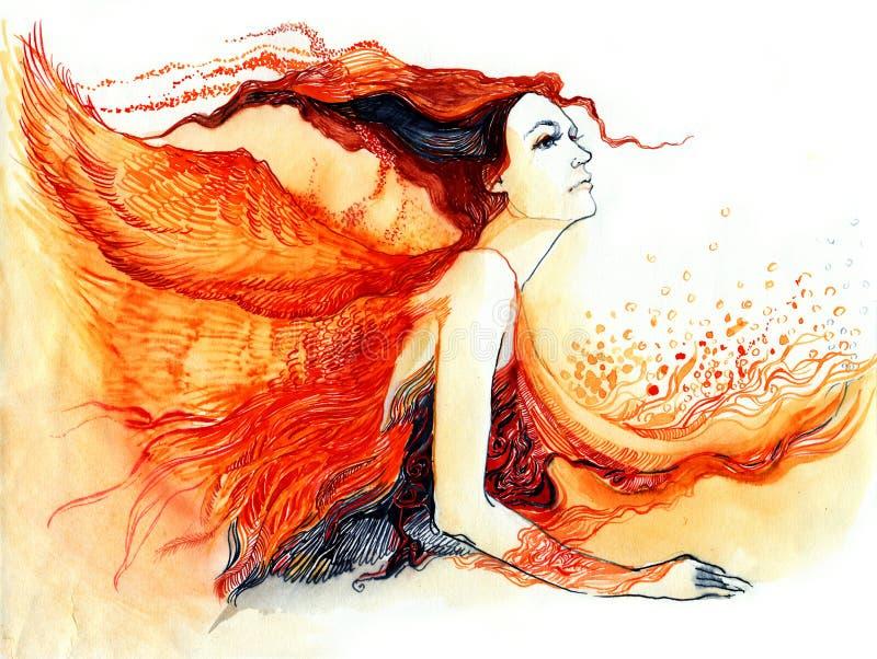 Frau mit Flügeln lizenzfreie abbildung