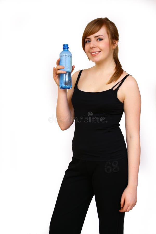 Frau mit Flasche stockfotografie