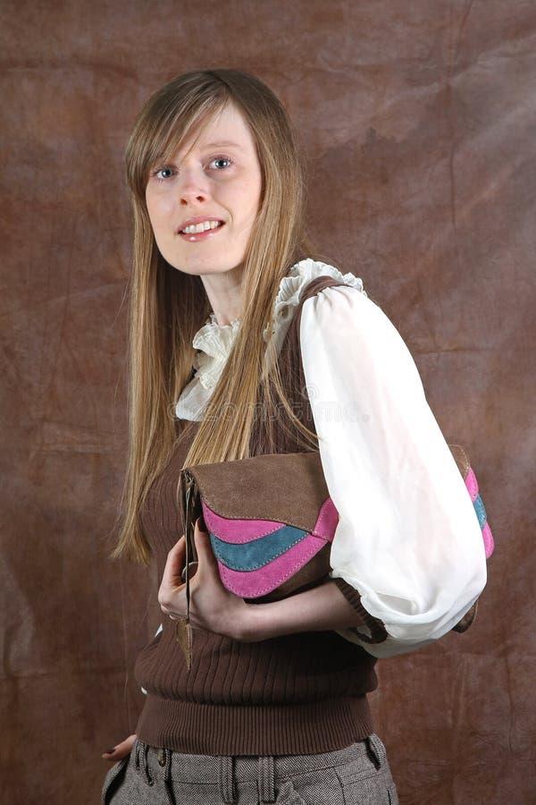 Frau mit Fonds lizenzfreie stockfotografie