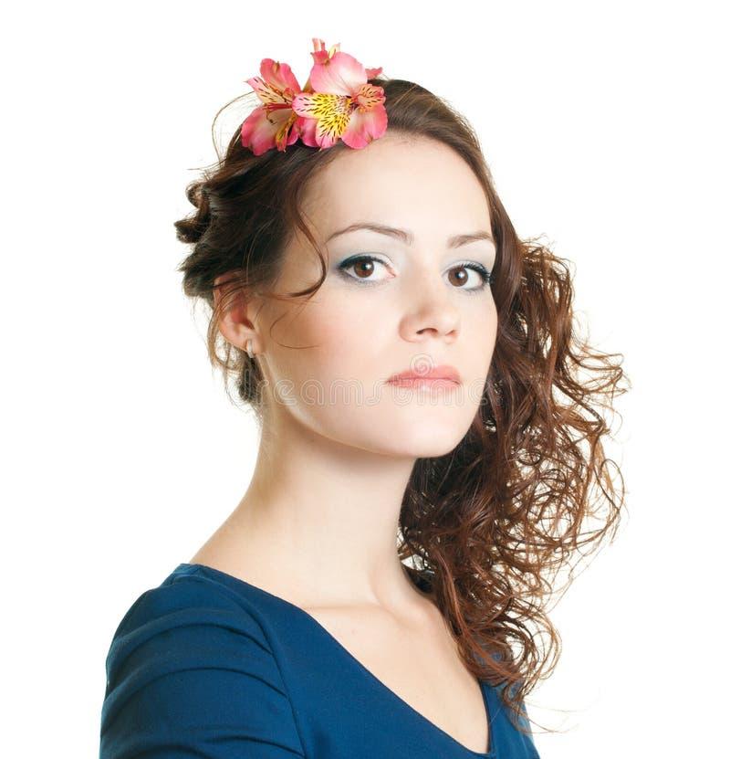 Frau mit Frisur stockfotos