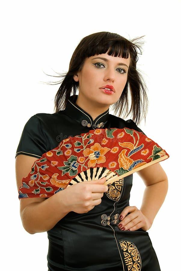 Frau mit Gebläse lizenzfreies stockfoto