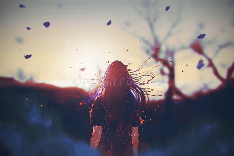 Frau mit gebrochenem Effekt auf ihren Körper, der den Sonnenaufgang schaut stock abbildung