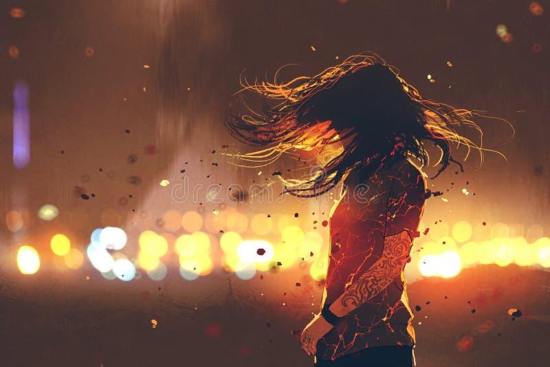 Frau mit gebrochenem Effekt auf ihren Körper gegen defocused Lichter stock abbildung