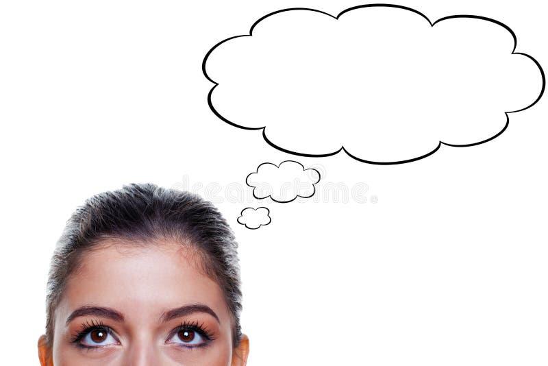 Frau mit Gedankenluftblasen stockbilder