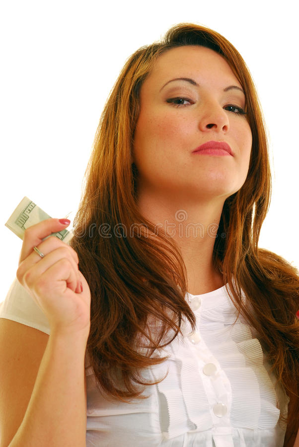 Frau mit Geld lizenzfreie stockfotografie