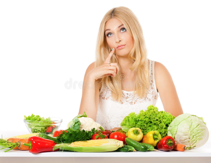 Frau mit Gemüse stockfotos
