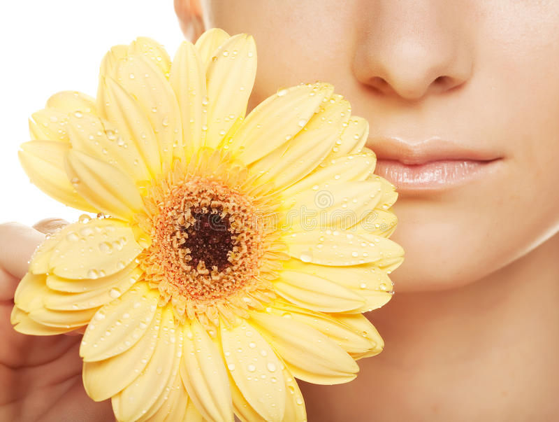 Frau mit gerber Blume lizenzfreies stockfoto