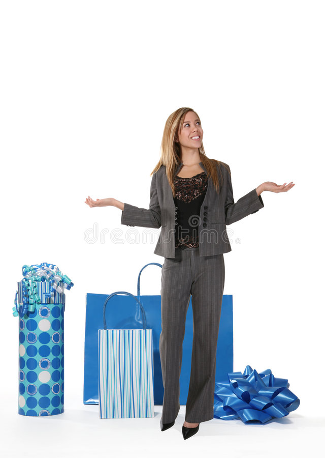Frau mit Geschenk-Beuteln lizenzfreie stockbilder