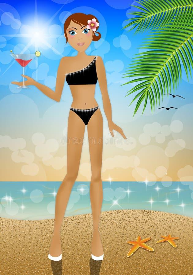 Frau mit Getränk auf dem Strand stock abbildung