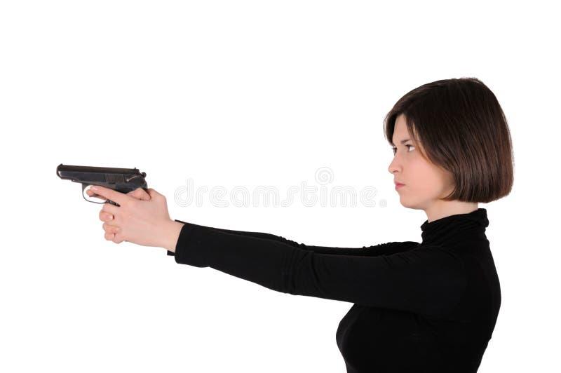 Frau mit Gewehr lizenzfreies stockfoto