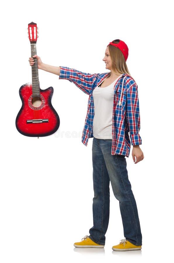 Frau mit Gitarre lizenzfreie stockfotos