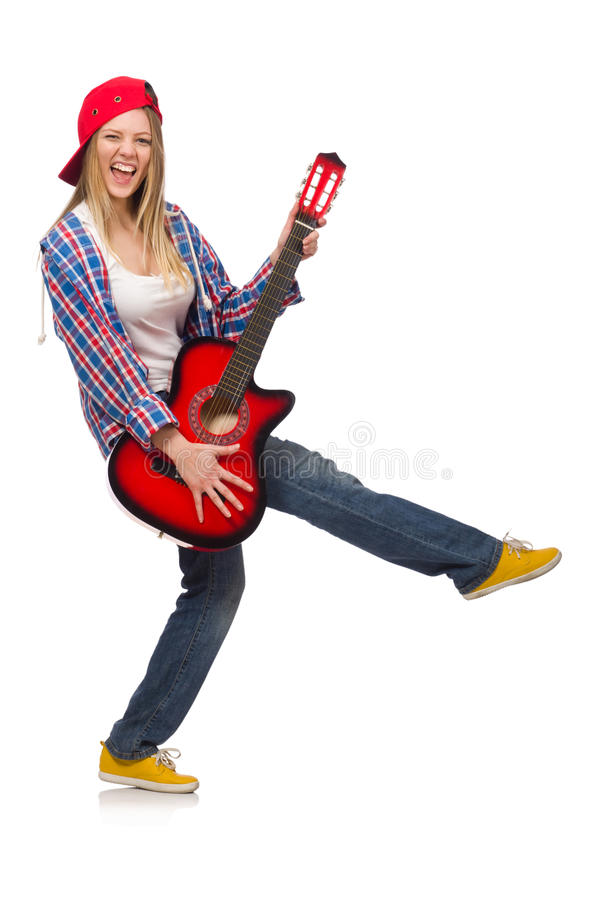 Frau mit Gitarre stockfotos