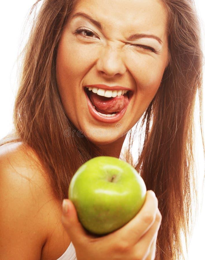 Frau mit grünem aple lizenzfreies stockbild