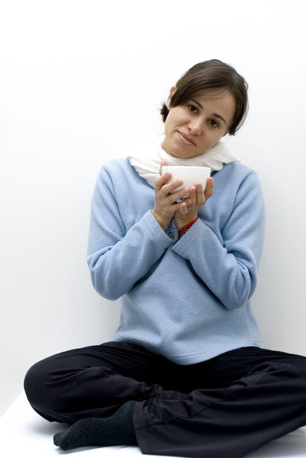 Frau mit Grippe lizenzfreies stockbild