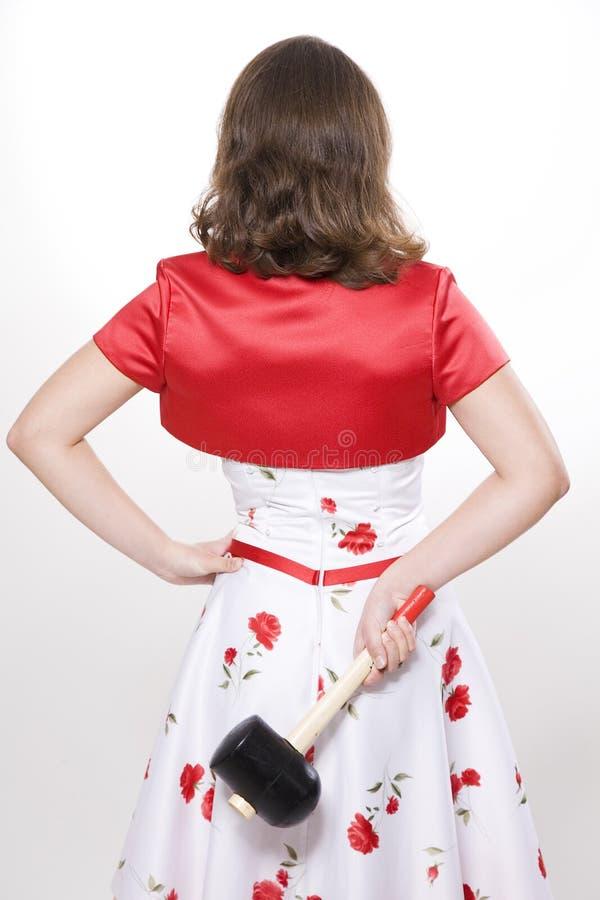 Frau mit Hammer lizenzfreie stockfotografie