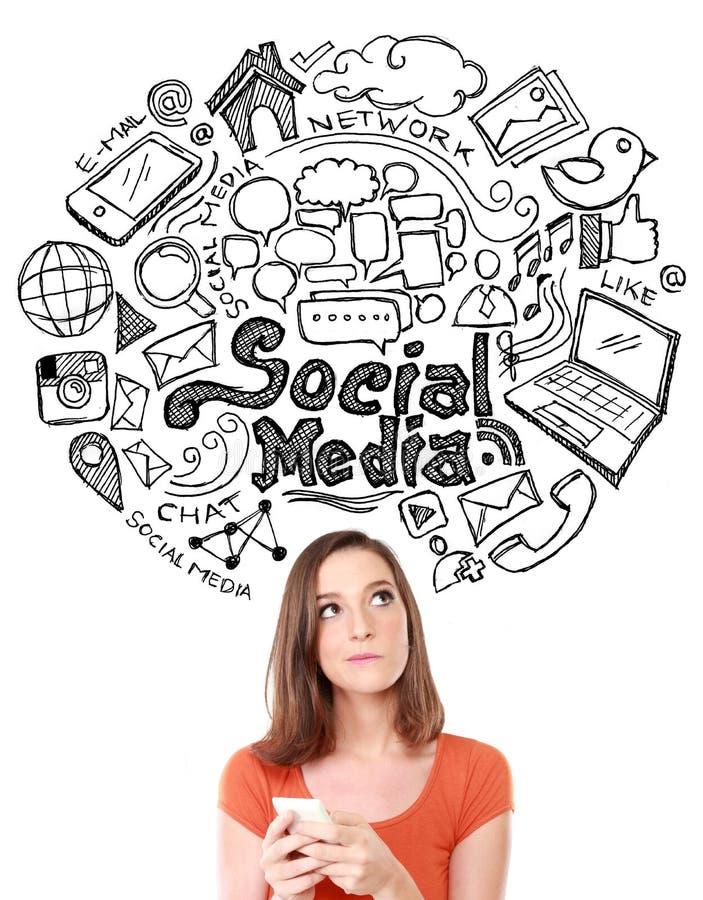 Frau mit Hand gezeichneter Illustration des Social Media-Konzeptes lizenzfreies stockfoto