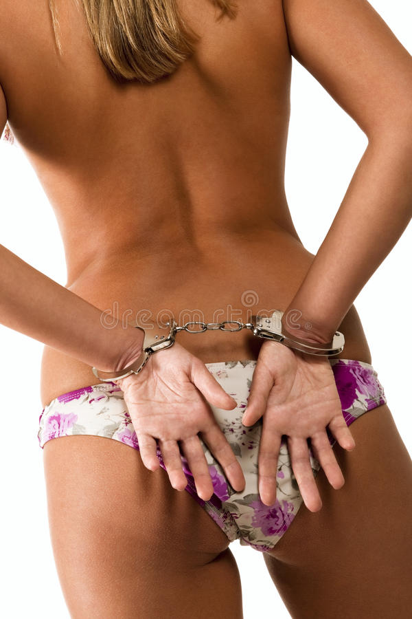 Frau mit Handschellen stockfotografie