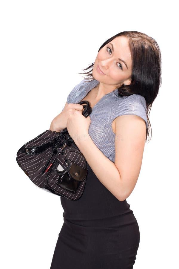 Frau mit Handtasche stockfoto