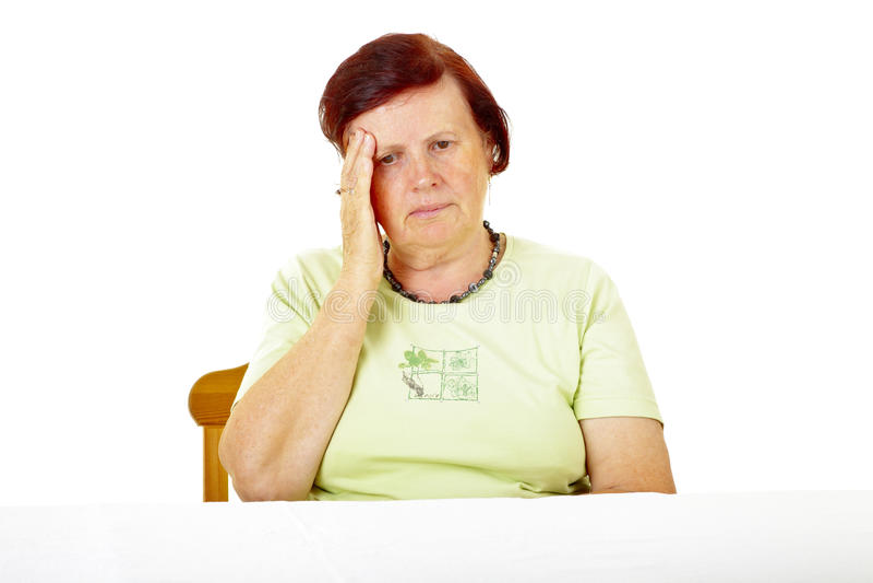 Frau mit Hauptschmerz lizenzfreie stockfotos