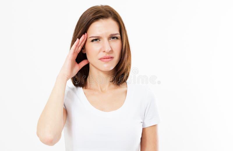 Frau mit Hauptschmerz lokalisiert auf weißem, weiblichem Leiden, Hauptschmerz lizenzfreie stockbilder