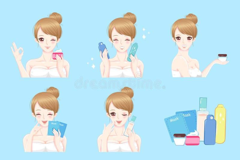 Frau mit Hautpflege stock abbildung