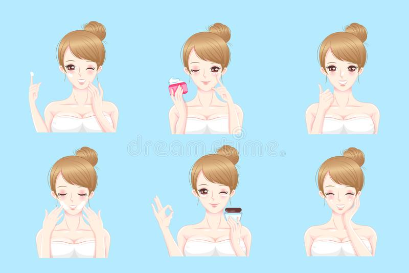 Frau mit Hautpflege lizenzfreie abbildung