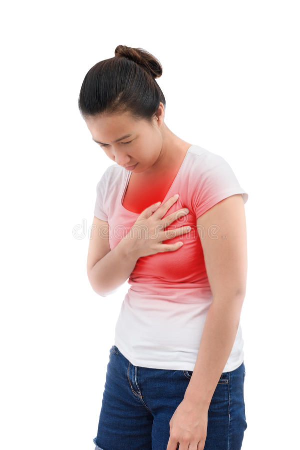 Frau mit Herzinfarkt, unerträgliche plötzliche Schmerz, Gesundheit proble stockbilder