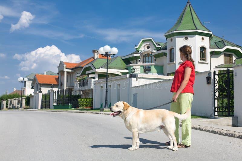 Frau mit Hund auf Straße lizenzfreie stockbilder