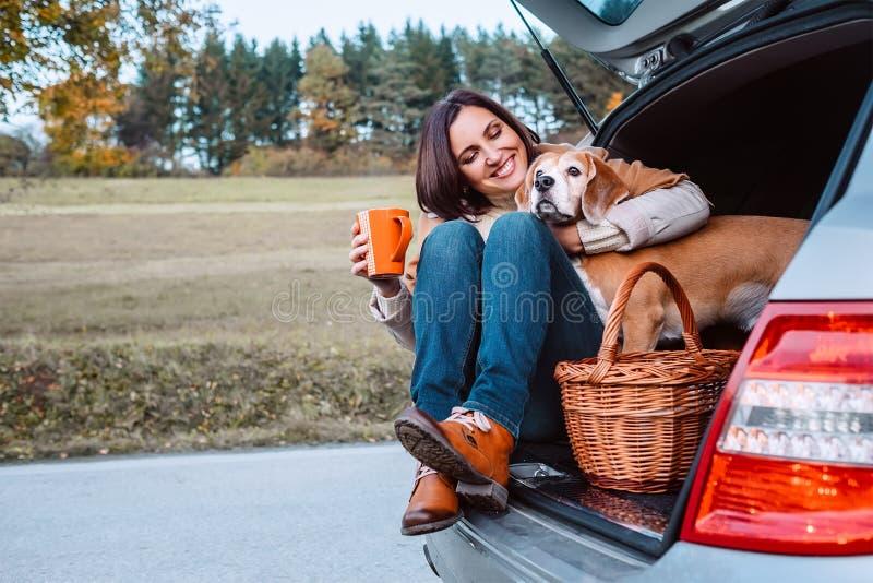 Frau mit ihrem Hund haben eine Teezeit während ihres Herbstauto trav stockfoto