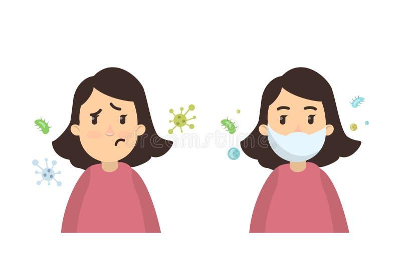 Frau mit Infektion stock abbildung