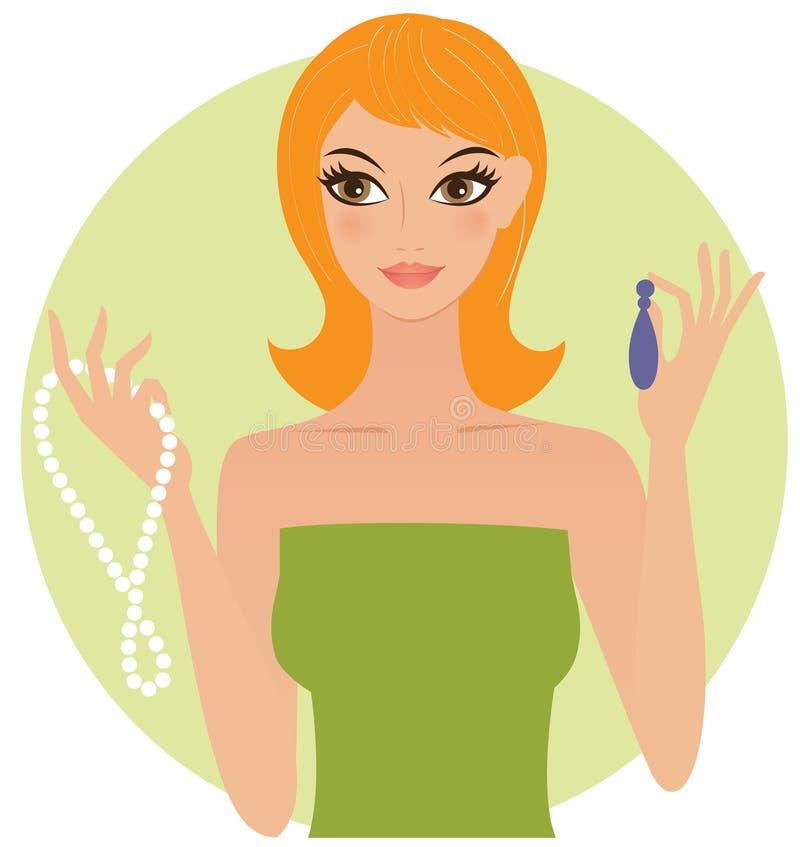 Frau mit Juwelen stock abbildung