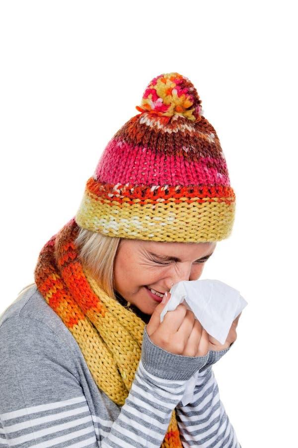 Frau mit Kälten und Grippe lizenzfreie stockfotografie